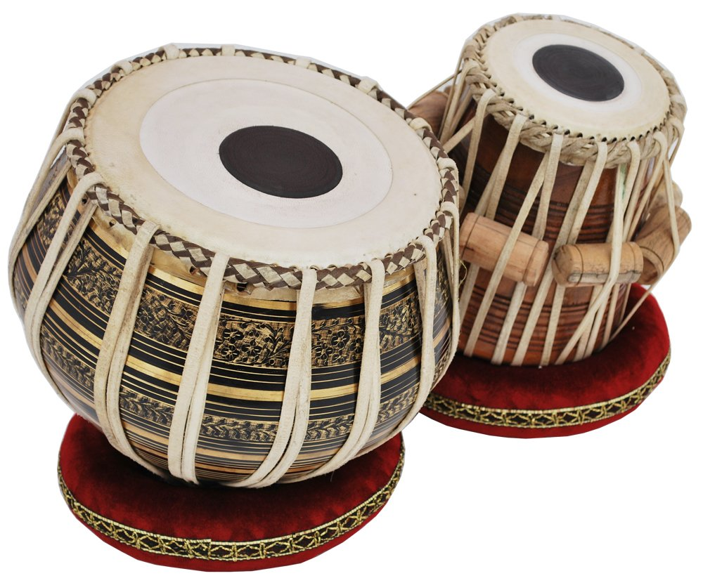 Tabla Drum Set, 2.5 Kg Black Painted Designer Brass Bayan, Beautiful Look, Sheesham Wood Dayan, Hand Made Drum Skin, Camel Leather Strap to Tune, Comes with Tuning Hammer, Gig Bag, Cushion & Cover by Kaayna Musicals (Image #1)