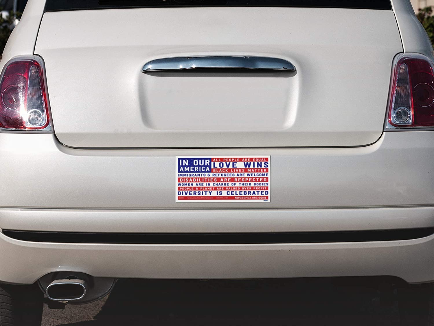 7.75 X 3.75 Magnetic Bumper Sticker//Decal Magnet Syracuse Cultural Workers In Our America