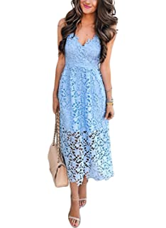8552dd993cf AlvaQ Women s Sexy V Neck Sleeveless Lace Dress at Amazon Women s ...