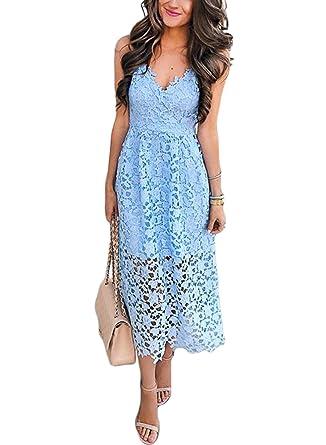 50c5e213e32 Sidefeel Women Spaghetti Strap V-Neck Lace Midi Club Party Dress Small  Light Blue