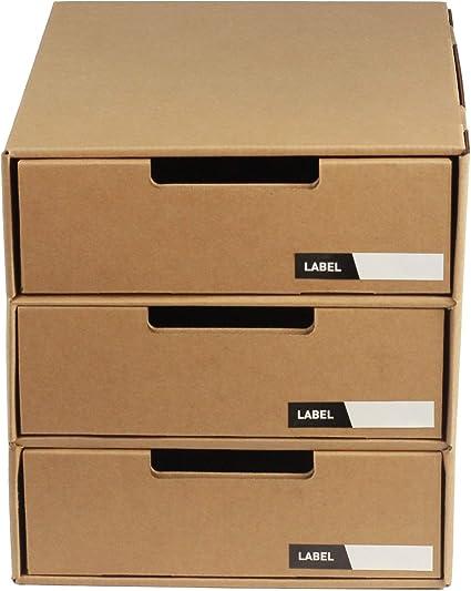 Tablero de cartón de escritorio con 3 cajones y etiquetas: Amazon ...