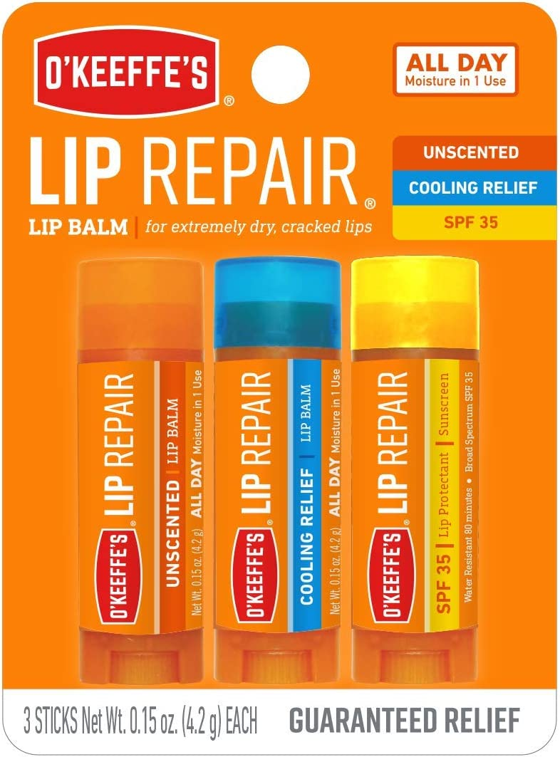 O'Keeffe's Lip Repair Lip Balm for Dry, Cracked Lips, Stick (Pack of 3: 1 Cooling + 1 Unscented + 1 SPF)