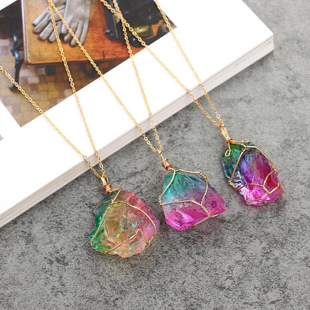 Rainbow Irregular Quartz Stone Pendant Crystal Point Pendant Gemstone Necklace for Valentine/'s Day Qisc Clearance