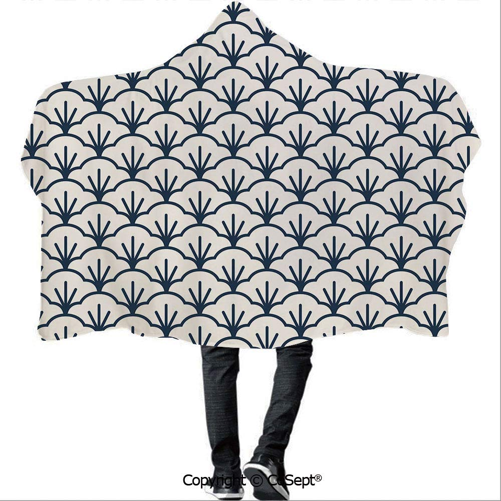 SCOCICI Wearable Hooded Blanket,Abstract Monochrome Cloud Motif Pattern Japanese Civilization Influences Decorative,Warm Cozy Throw Blanket (59.05x78.74 inch),Dark Blue Cream