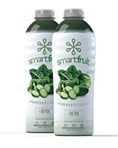 Smartfruit Harvest Greens + Detox, 100% Real Fruit Purée (Smoothie Mix) No Added Sugar, Non-GMO, No Additives, Vegan, Family Size 48 Fl. Oz