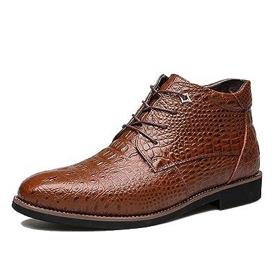 b4b29d30f0c596 Bottes Classiques Homme, Bottines Cuir Formelles Design Casual Chaussures  de Ville avec Doublure Fourrure -