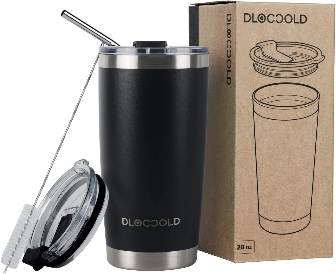 DLOCCOLD 20oz Tumbler Double Wall Stainless Steel Vacuum Insulated Coffee Travel Mug with Lid and Straw (Back, 20oz)