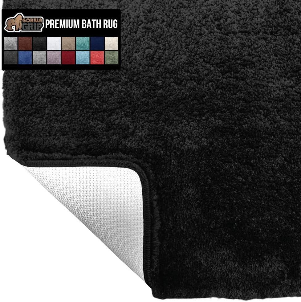 Gorilla Grip Original Premium Luxury Bath Rug, 30x20 Inch, Incredibly Soft, Thick, Absorbent Bathroom Mat Rugs, Machine Wash and Dry, Plush Carpet Mats for Bath Room, Shower, Hot Tub, Spa, Black