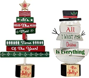 HOMirable Christmas Wood Sign Decor Set Snowman Sign and Christmas Tree Decoration, Rotatable Tabletop Holiday Desk Ornaments, It's The Most Wonderful Time of The Year, 2 Piece