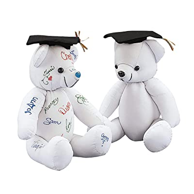 Fun Express - Autograph Graduation Bear for Graduation - Toys - Plush - Stuffed Autograph - Graduation - 1 Piece: Toys & Games