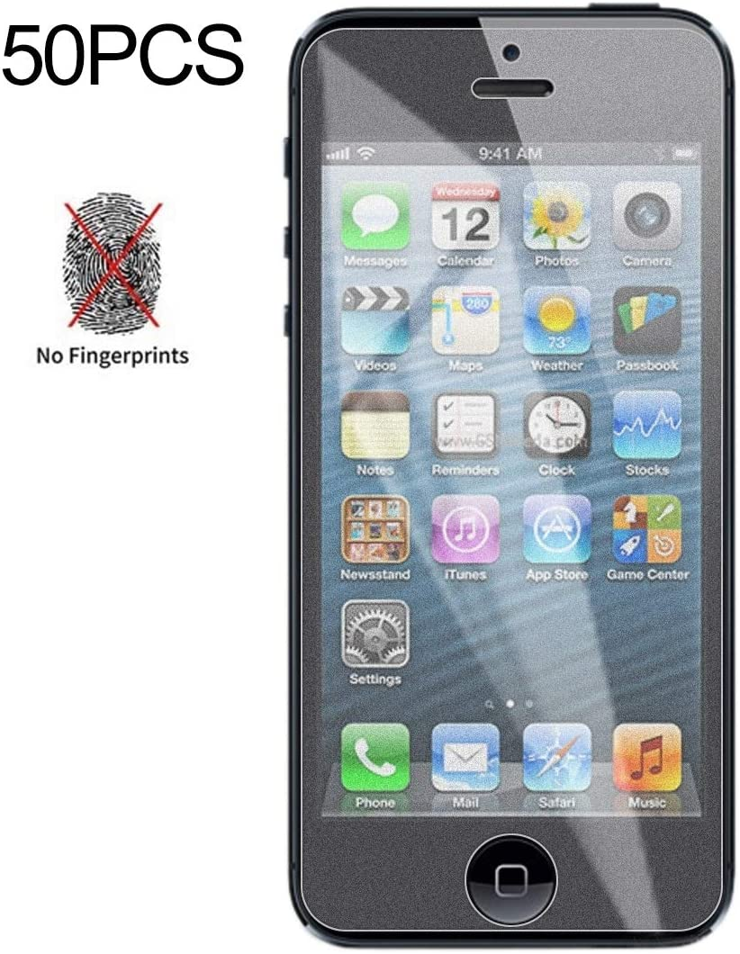 5S 5C Anti-Thin SHIFENX 50PCS Non-Full Matte Frosted Tempered Glass Film for iPhone 5