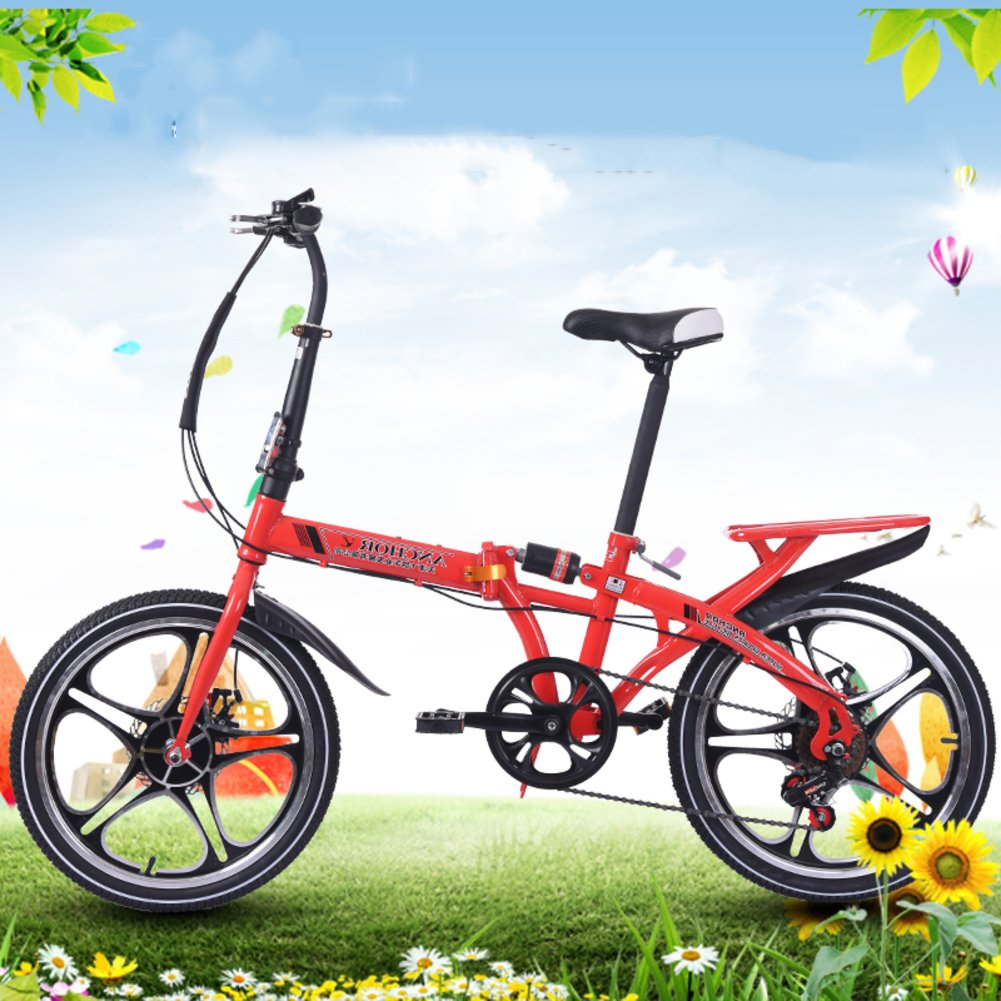 Bicicleta plegable 16 pulgadas Mujer Variadores de velocidad Amortiguador de choque Adulto Super light Bicicleta de estudiante Con cesta-B ...