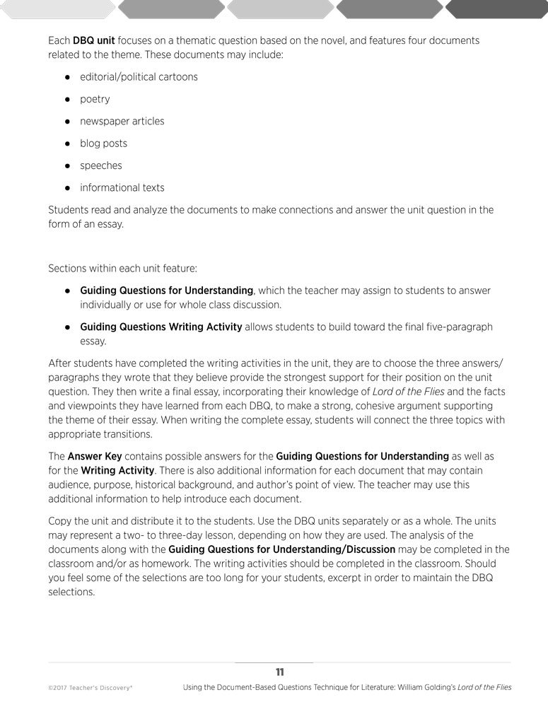 Controversial Essay Topics For Research Paper Amazoncom  Using The Documentbased Questions Technique For Literature  William Goldings Lord Of The Flies Book  Office Products Topics For English Essays also Custom Essay Papers Amazoncom  Using The Documentbased Questions Technique For  My English Essay