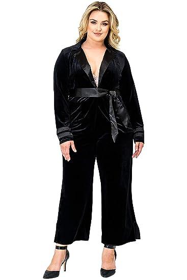 8b842d0f3e8 Standards   Practices Plus Size Women Black Velvet Crop Split Hem Wide Leg  Pants Size 1X