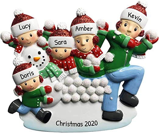 Volunteering At Christmas For Foster Children 2020 Amazon.com: Personalized Family of 5 in Snowball Fight Christmas