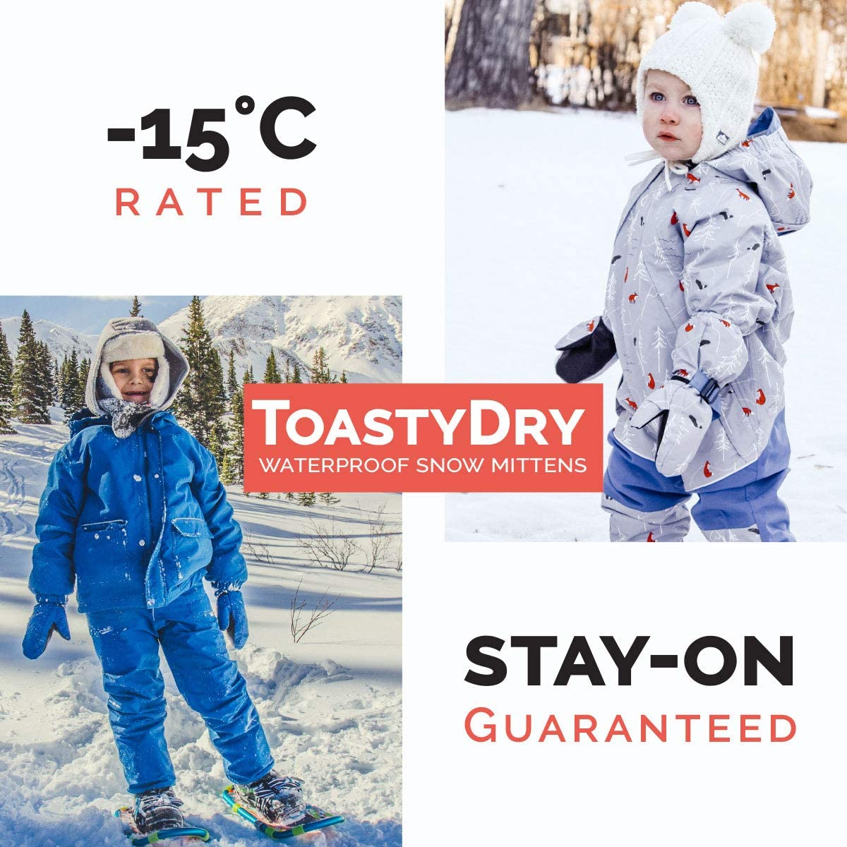 Jan /& Jul Waterproof Stay-on Winter Snow and Ski Mittens Fleece-Lined for Baby Toddler Kids Girls and Boys S: 2-4Y: The-Rockies