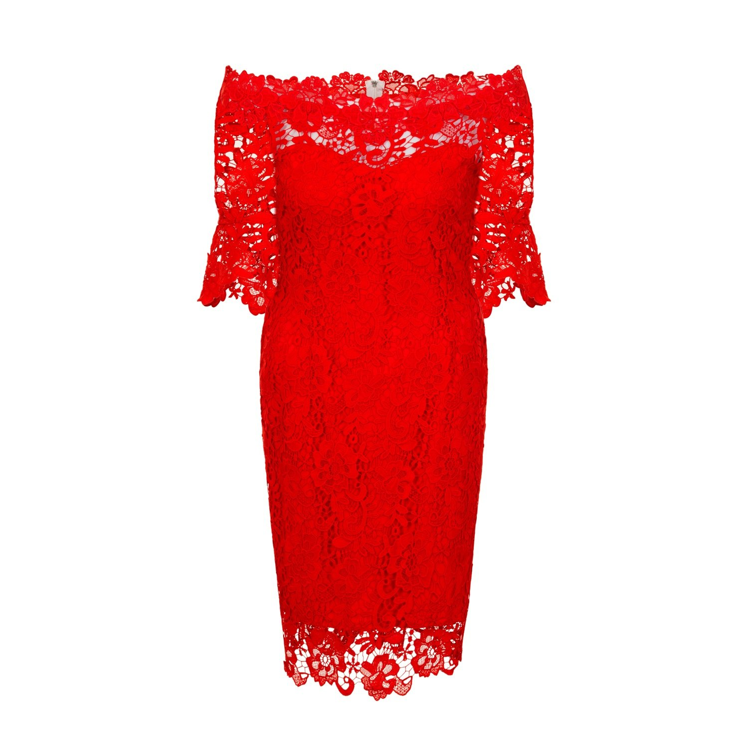 be8bc4065e1 Paper Dolls Curvy Womens Ladies Red Crochet Lace Bardot Dress at Amazon  Women s Clothing store