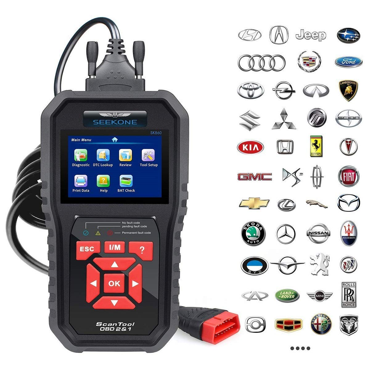 SEEKONE OBD2 Scanner Professional Car OBD II Scanner Auto Diagnostic Fault  Code Reader Automotive Check Engine Light Diagnostic EOBD Scan Tool for All