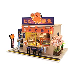 Cool Beans Boutique Miniature DIY Dollhouse Kit Wooden Japanese Takoyaki Shop with Dust Cover - Architecture Model kit (English Manual) DH-HD-M913Takoyaki