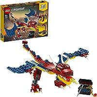 LEGO 31102 Creator Dragón Llameante, Set de Construcción 3 en 1 Dientes de Sable o Escorpión para Niños y Niñas a Partir…