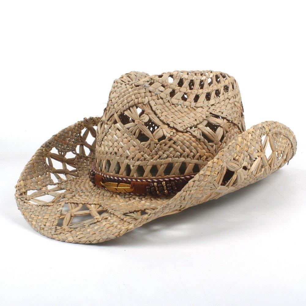 GeorgeB- Cowboy Hat Fashion Jazz Hat Women Men Western Cowboy Hat Roll-up Wide Brim Cowgirl Jazz Hat (Color : Black, Size : 56-58CM)