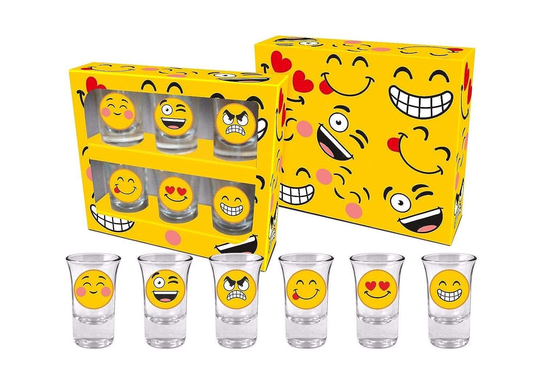 Juego de 6 vasos de chupito emoji para fiesta de cumpleaños ...