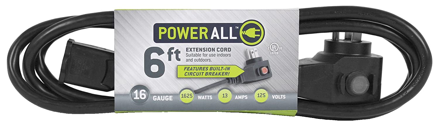 Moisture Resistant Extension Cord with Circuit Breaker 6 ft 14 Gauge 125V Power All and Durable for Outdoor // Indoor Use Flexible
