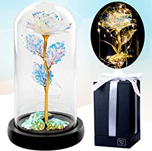 Galaxy Rose Gifts for Women - Beauty and The Beast Rose - Best Birthday Gifts for Friends Female, Mom, Sister - Wedding Anniversary for Her / Wife - Forever Infinity Enchanted Crystal Teen Girl Stuff