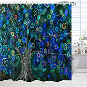 BROSHAN Colorful Tree Shower Curtain Fabric, Spring Watercolor Art Painting Tree Life Shower Curtains for Bath Set, Abstract Nature Bathroom Decor Set with Hooks, 72 inch Long