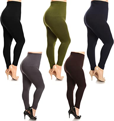 High Waist Compression Leggings W French Terry Lining At Amazon Women S Clothing Store