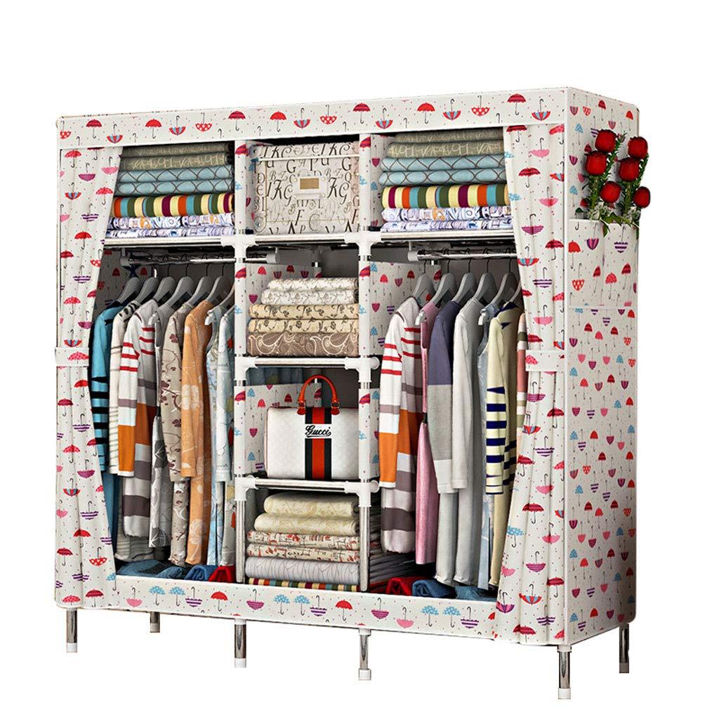 Armario Simple armazón de Acero Inoxidable 168  45  170 armarios de Tela Oxford montados (Color : A)