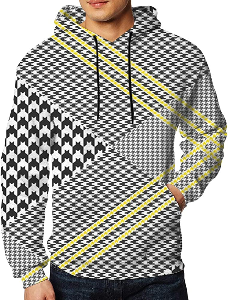 Glen Plaid Classic Black White Mens 3D Printed Pullover Long Sleeve Hooded Sweatshirts with Pockets