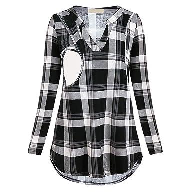 5b446778a Cinnamou mujer Blusas y Camisas premamá Lactancia en Cuello de V Ropa  Maternidad Camisetas de Manga Largas Estampado a Cuadros Pullover Blusa  Tops para ...