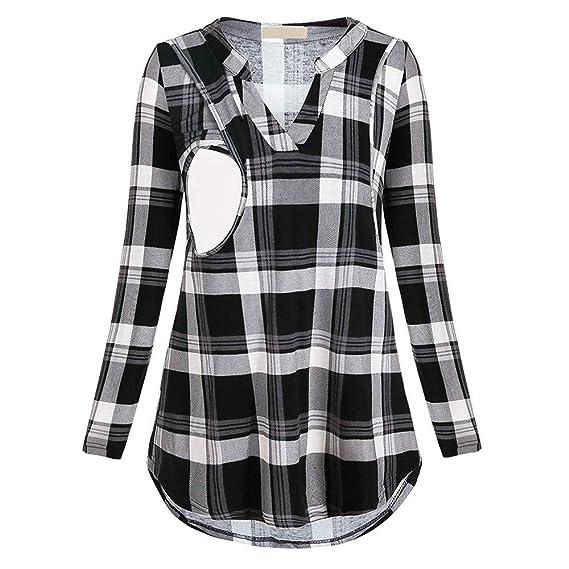 riou Mujer Lactancia Camiseta de Las Mujeres Embarazadas Cuidado de Maternidad Vestido a Cuadros de Manga Larga Cuello Redondo Camisa de Lactancia portátil ...