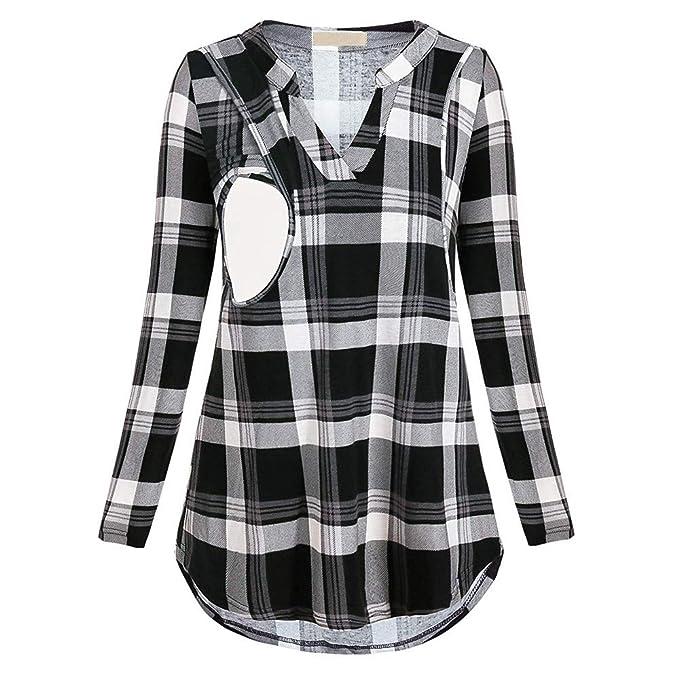 Cinnamou_mujer Blusas y Camisas premamá Lactancia en Cuello de V Ropa Maternidad Camisetas de Manga Largas Estampado a Cuadros Pullover Blusa Tops para ...