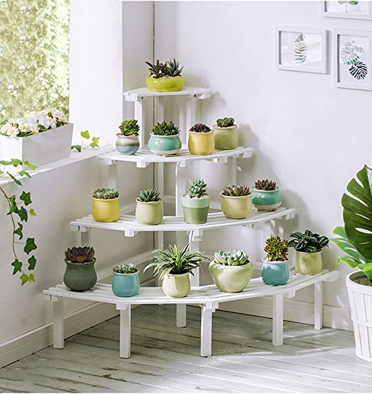 Escalera de 4 Niveles Estantes para Flores Estantes de Esquina de Madera para macetas de Plantas Estante de Almacenamiento en el jardín para la Sala de Estar Balcón en Blanco: Amazon.es: Hogar