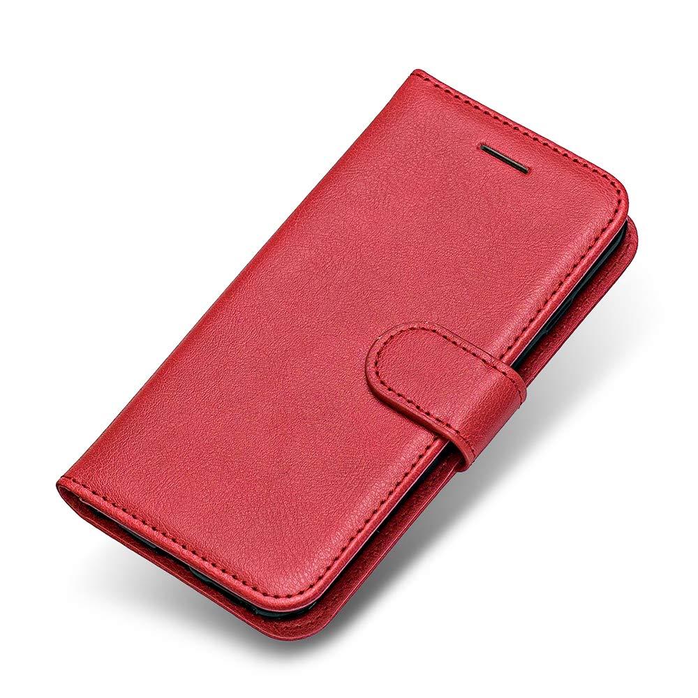 Coque Galaxy J7 DUO, The Grafu® Etui en Cuir Flip Portefeuille Housse avec Emplacements Carte, Design Classique PU Stand Coque pour Samsung Galaxy J7 DUO, Rouge