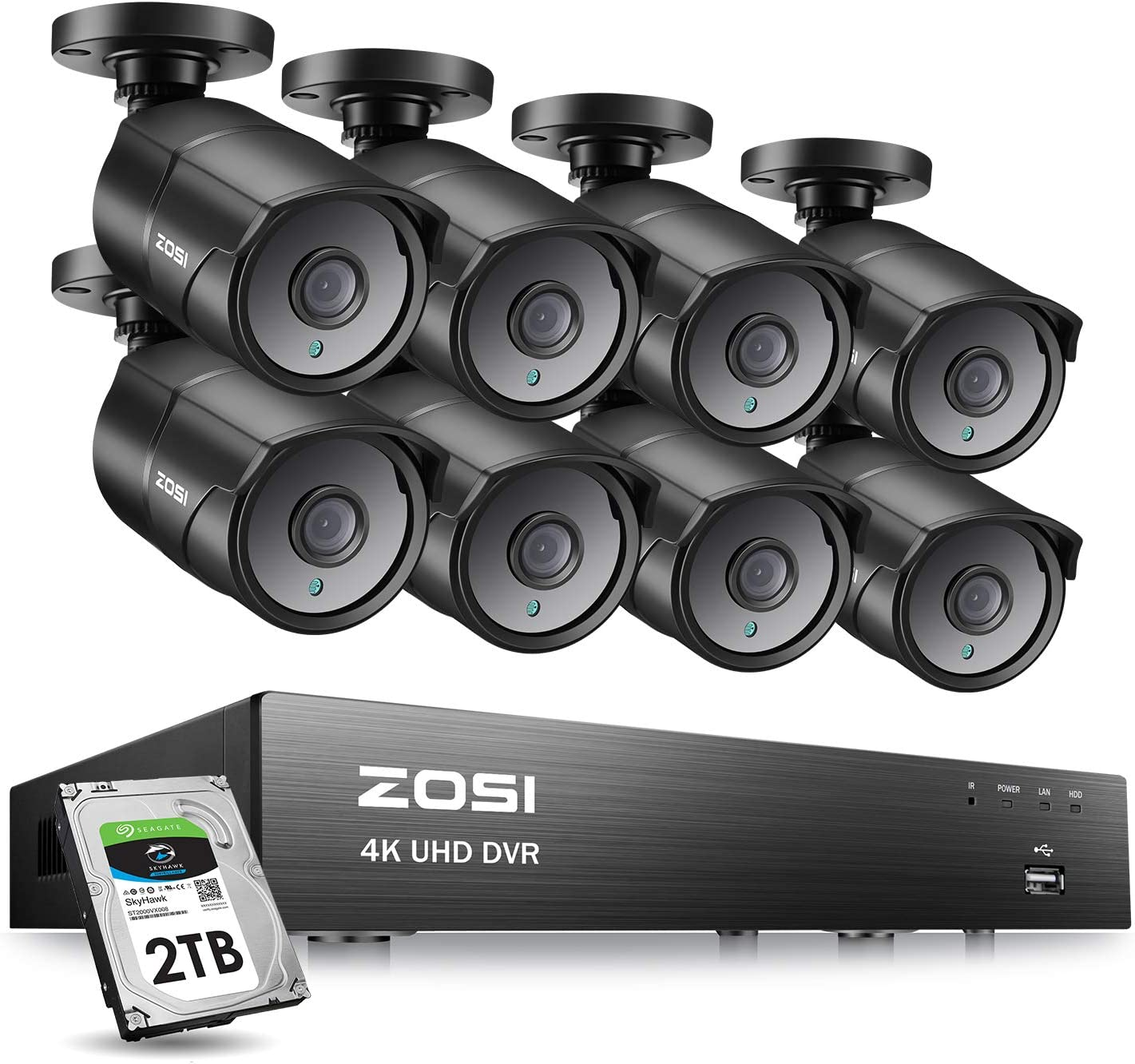 ZOSI Ultra HD 4k Security 8 Camera System, H.265 4K 8 Channel Surveillance DVR Recorder with 8 x 4K 8MP CCTV Bullet Camera Outdoor Indoor,100ft Night Vision, 2TB Hard Drive, Remote Access