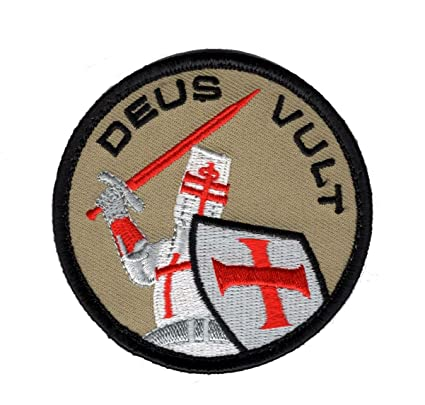 Deus Vult Crusader christian Templar Knight Sword God Wills Hook Patch