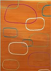 DiB AJU160-0302/922 Tapete de Entrada Juvenil Cuadros, color Naranja, 160x225 cm