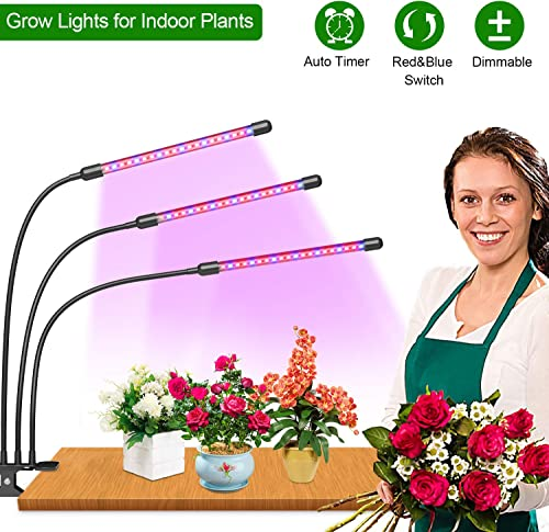 LED Grow Light, Plant Light for Indoor, 30 Watt Red Blue Full Spectrum Grow Light, 3 Flexible Gooseneck, 3 6 12H Timer and 6 Dimmable Levels Clip-On Grow Lights with AC Adapter