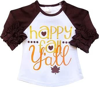 So Sydney New Toddler & Girl Fall & Winter Holiday Sparkle Ruffle Raglan T-Shirt (XL (6), Happy Fall Y'all)