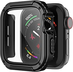 Recoppa Rugged Apple Watch Case 44mm Series SE 6/5/4 with Screen Protector, Durable Military Grade Quattro Pro Series Drop-proof Protective Cover Full Coverage Shock-proof Bumper for Men iWatch(Black)