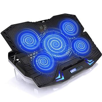 ... con 5 Ventiladores, con regulación del ángulo de inclinación, y retroiluminación Azul   Refrigerador de PC Portatiles   Bandeja: Amazon.es: Electrónica