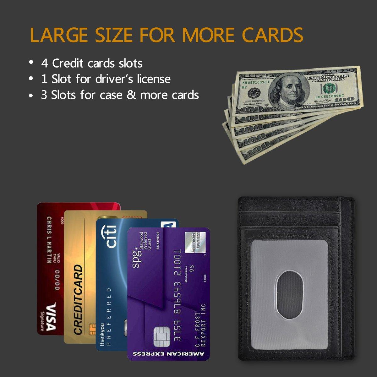 GH GOLD HORSE Slim RFID Blocking Card Holder Minimalist Leather Front Pocket Wallet for Women (Black) by GH GOLD HORSE (Image #5)