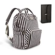 PIPI Bear Diaper Bag Travel Backpack Large Capacity Tote Shoulder Nappy Bag Organizer for Baby Care with Insulated Pockets,Waterproof Fabric (Striped-Black White)