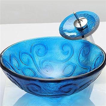 HomeLava Lavabo Vasque En Verre Trempé Bleu, Avec Robinet Cascade à Poser  La Salle De