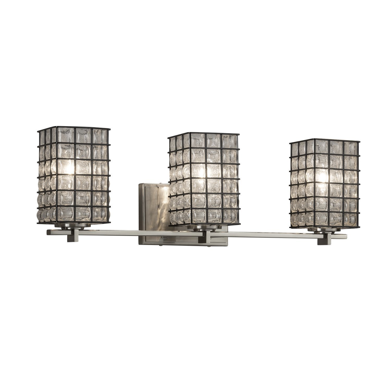 ワイヤガラス – Era 3ライトバスバー – 正方形フラットリムワイヤケージと吹きガラスシェードでグリッドwith Clear Bubbles – ブラシニッケル仕上げ – LED B06Y5V8M58