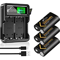 2650mAh Battery and LCD Display Dual Charger with Built-in USB Cable for Xbox One/Xbox One S/Xbox One X/Xbox One Elite…