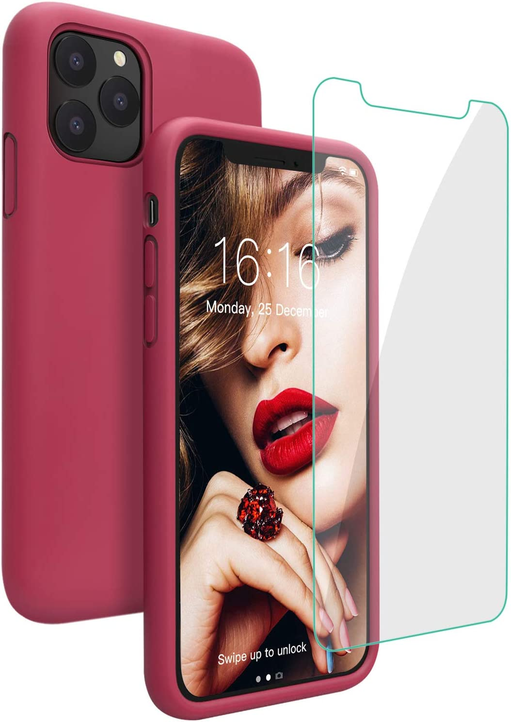 Case for iPhone 11 Pro Max, JASBON Liquid Silicone Phone Case with Tempered Glass, Soft Gel Rubber Bumper Anti-Slip Protective iPhone 11 Pro Max Case 6.5 inch for 11 Pro Max - Rose Red